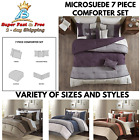 Microsuede Comforter Shams Bed Skirt Decorative Pillow Cover Beddings 7 Pcs Set  image