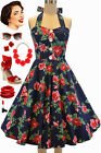 50s Style PLUS SIZE Miss Mabel NAVY & RED ROSE FLORAL Pinup HALTER Sun Dress
