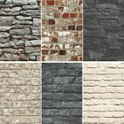 NEW BRICK EFFECT FAUX REALISTIC BRICK STONE WALL PATTERN PHOTO MURAL WALLPAPER
