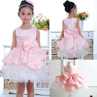 Hot Sale Flower Big Bow Girls Kids Princess Gown Full Wedding Party Dresses 2-7Y
