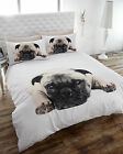 PUG DOG PUPPY THERMAL FLANNELETTE QUILT DUVET COVER BED SET SINGLE DOUBLE KING