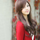 Party Shining Girl Long Curly Hair Wig Fashion Fluffy Oblique Bangs Sweet Wigs