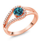0.90 Ct Round London Blue Topaz 18K Rose Gold Plated Silver Ring