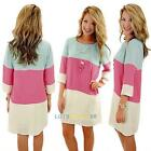 Women Girl Candy Colors Matching 3/4 Sleeve Casual Party Summer Dress Above Knee
