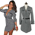 Womens Elegant Houndstooth Wear To Work Pencil Slim Clubwear Party Dress GZ 0T3U