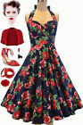 50sStyle PLUS SZ Eleanor Paige PINUP Navy ROSE SWEETHEARTBust HALTER SunDress