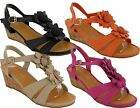 WOMENS WEDGE HEEL FLOWER SUMMER BEACH SANDALS SHOES LADIES UK SIZE 2-7