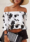 NEW hot fashion women's off shoulder floral print t shirt vest blouse tops