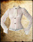 VICTORIAN STEAMPUNK IVORY BLACK LACE SHIRT TOP BLOUSE JABOT COPPER COG GOTHIC