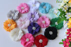 Chiffon Fabric Flowers Pearl DIY Embellishment Craft Whoesale Baby Accessories
