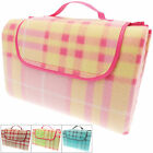 Family Size Folding Picnic Beach Blanket With Handle Tartan Rug Mat 150cmx200cm