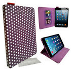 Polka Dot spot Folio leather case cover media stand for apple, samsung tablets