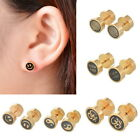 BD 1PC Dumbbell Gold Round Ball Stud Earrings Latest Handmade Fashion Womens