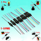 10CM Wire Car Motorcycles Waterproof Electrical Connector Plug 1/2/3/4/5/6 Pins
