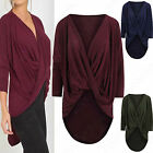 NEW LADIES LONG WRAPOVER BATWING TOP JUMPER WOMENS KNITTED DRAPE FRONT HILO LOOK