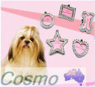 Dog Cat Pet Puppy Name Tag ID Pendant Charm Collar Personalised Crystal Shapes