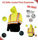 Hi-Vis Pull Over Sweatshirt Class 3 Safety Hoodie Lime High Visibility Road Work