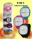 New Square Silicone Black Band Unisex Five Band Set Watch Fashion Watch FW716A
