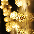 20 LED Warm White Rattan Ball String Fairy Lights For Xmas Wedding Party Hot