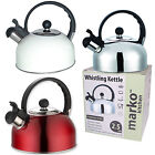 2.5L Camping Stainless Steel,Red or Cream Whistling Kettle Electric GasHob Stove