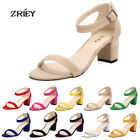 Women's Open Toe Ankle Strap Sexy Girl's Shoes Sandals Suede Leather Medium Heel