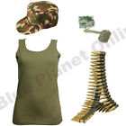 LADIES KHAKI ARMY VEST TOP CAP DOG TAGS & BULLET BELT FANCY DRESS MILITARY 8-16