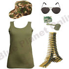 LADIES KHAKI ARMY VEST TOP CAP DOG TAGS SUNGLASSES & BULLET BELT FANCY DRESS