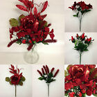 *ARTIFICIAL CHRISTMAS FLOWERS* Job Lot Of 5 x Bunches *Poinsettias, Roses etc*