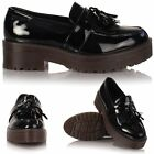 New Ladies Girls Flat Chunky Platform Loafer Creeper Brogue School Office Shoes
