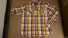 Akademiks Men's Casual Button Up Check Shirts Grey / Orange / Red Size XL