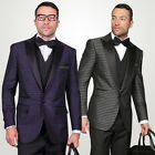 Statement Jacquard Modern Fit Tuxedo Suit w/ Peak Lapel Gray, Purple $799