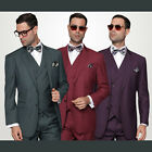 Statement 100% Wool Plaid Suit w/ Double Breast Vest Burgundy, Olive, Plum $899