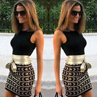 Sexy Ladies Belted Sleeveless Office Mini Slim Club Party Womens Dress Top