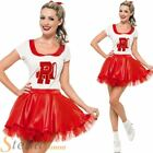 Ladies Grease Sandy Cheerleader 50s Fancy Dress Costume Adult Rock Roll Outfit