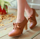 Women's Block High Heels Punk Pointy Toe Lace Up Platform Ankle Boots Shoes sg55