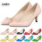 ZriEy Womens High Hells Stilettos Pumps Classic Pointed Bowknot Closed Toe Shoes