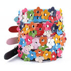 Cute Flower Studded Leather Buckle Dog  Pet Puppy Collar Adjustable 4 Colors