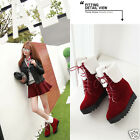 Ladies Faux Fur Lined Cuffed Lace Up Platform Hidden Heel Ankle Boots Shoes