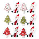 Pack 12 Xmas Christmas Tree Santa Card Clips Pegs Holders Hangers Decor Festive