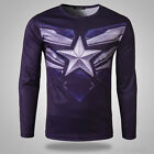 Men Long Sleeve Casual T-shirt The Avenger The Age Of Ultron Captain America new
