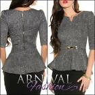 NEW LADIES high low ELEGANT BUSINESS TOP peplum blouse XS S M L XL FORMAL WEAR