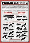 Public Warning (WW1 Aircraft Recognition) Metal Sign   290mm x 200mm  (nm)