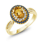 1.20 Ct Oval Yellow Citrine 18K Yellow Gold Plated Silver Ring