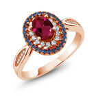 1.54 Ct Oval Red Created Ruby 18K Rose Gold Plated Silver Ring