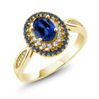 1.60 Ct Oval Blue Simulated Sapphire 18K Yellow Gold Plated Silver Ring