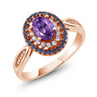 1.35 Ct Oval Purple Amethyst 18K Rose Gold Plated Silver Ring