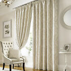 Ashley Wilde Lille Ivory Pencil Pleat Velvet Style Flock Ready Made Curtains