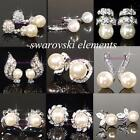 SALE 18K White Gold Filled Earring Pearls made with Swarovski Crystal 14 choices