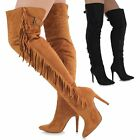 Ladies Suede Long Tall Over The Knee Thigh High Pointed Toe Stiletto Fringe Boot