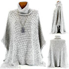 Poncho Cape Sweater Mohair Wool Alpaga Gray Big size 36/64 - AMANDA - Woman